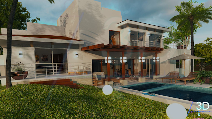 E+J Arquitectos Mediterranean style balcony, porch & terrace Wood Beige
