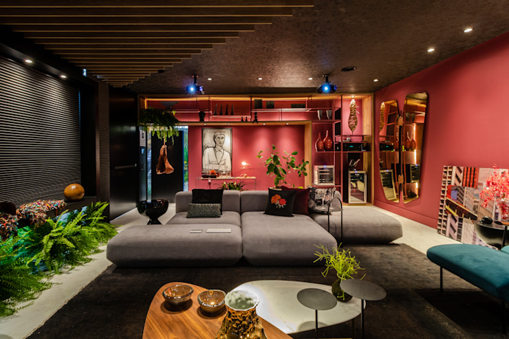Sala da Imagem e do Som   Casa Cor PE 2018  Mobiliário de Design Arquitetura Sônia Beltrão & associados Salas de estar modernas Vermelho