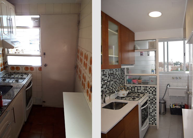 Departamento Lamarca - Cocina: Antes y Después D4-Arquitectos Cocinas pequeñas Madera Blanco