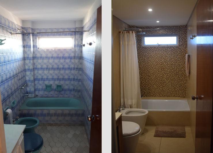 Departamento Lamarca - Baño: Antes y Después D4-Arquitectos Baños de estilo moderno Cerámico Beige