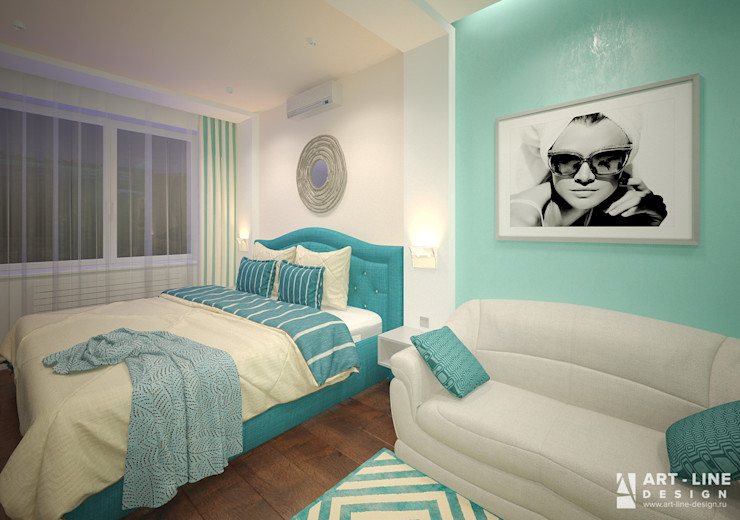 Art-line Design Skandinavische Schlafzimmer Türkis