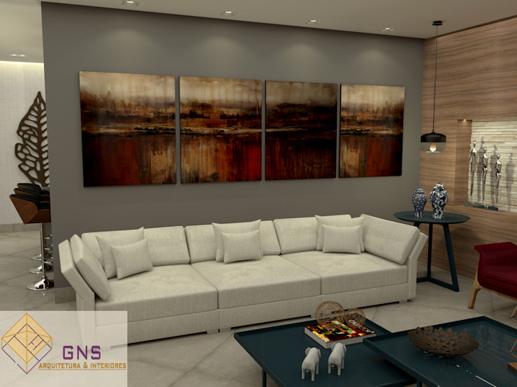 Vista 3 - Sala de Estar/ TV homify Salas de estar ecléticas