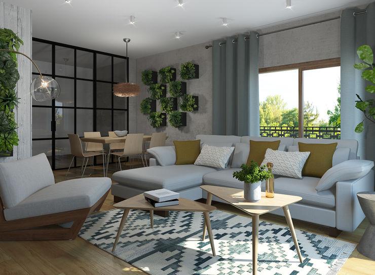 Salón estilo eco Glancing EYE - Asesoramiento y decoración en diseños 3D Salones de estilo moderno
