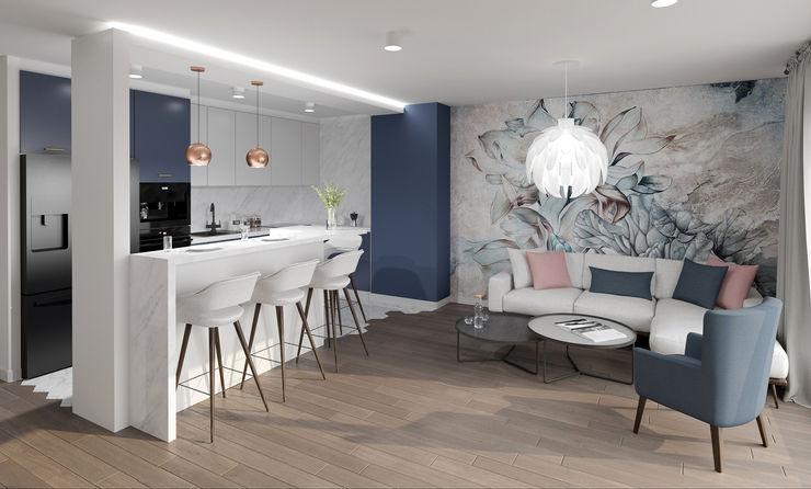 Projekt salonu z kuchnią M2 Architektura Nowoczesny salon