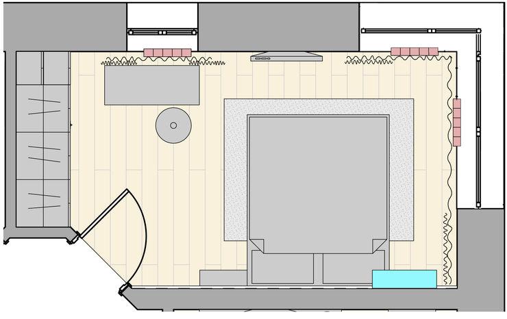 Нежная спальня с акцентами (планировочное решение) Елена Марченко (Киев) Спальня в эклектичном стиле