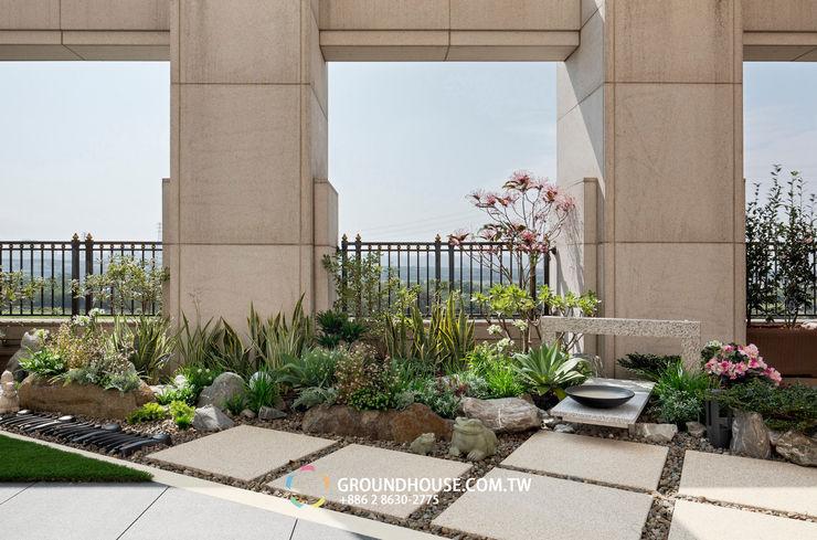 大塊的石磚步道也帶有日式風味 大地工房景觀公司 Floors