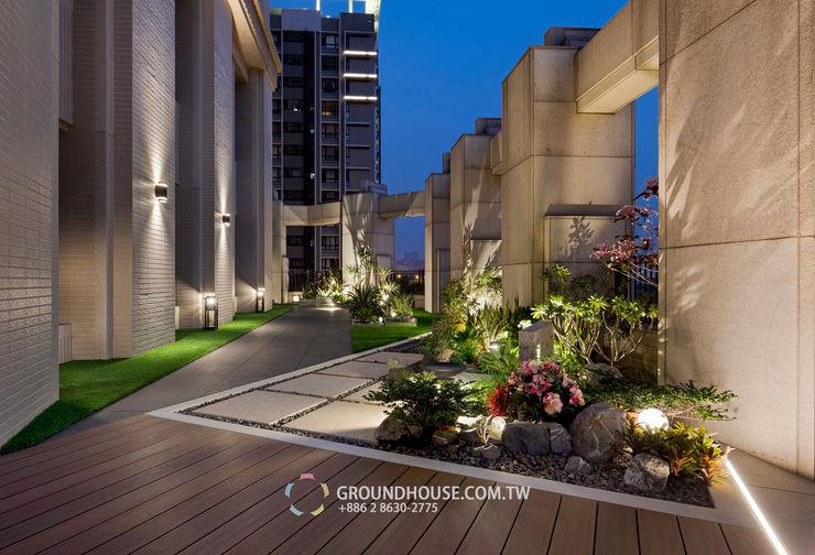 燈光的照射下整個露臺好似正在舉行一場熱鬧派對 大地工房景觀公司 Garden Lighting