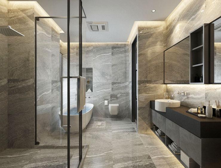 台中室內設計-築采設計 Kamar Mandi Modern