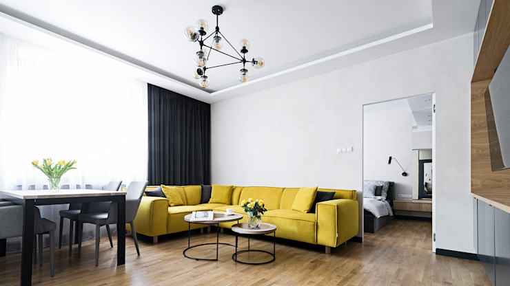 MMA Pracownia Architektury Soggiorno moderno Legno Giallo