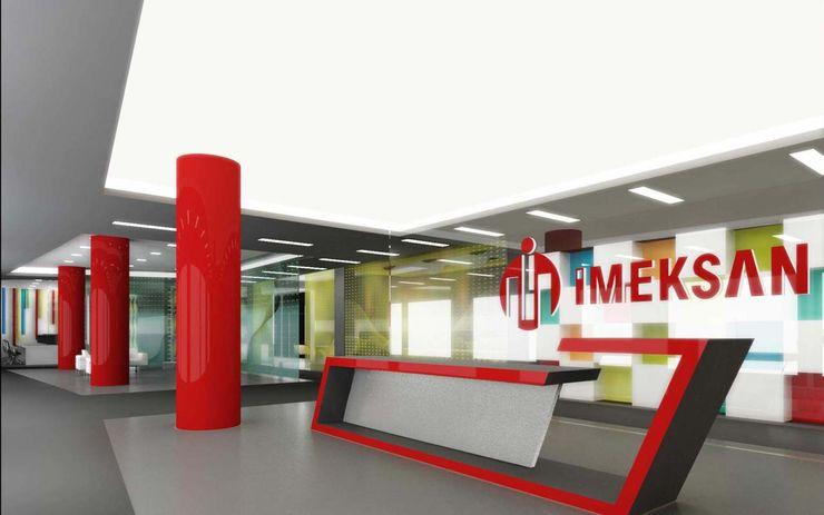 Resepsiyon ünitesi ANTE MİMARLIK Ofis Alanları Kırmızı