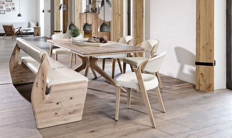Chaises SPIN avec blanc et table de repas ALPIN Imagine Outlet Salle à mangerTables Bois Marron