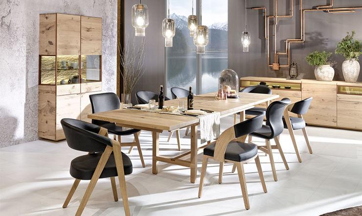 Ensemble salle à manager avec table extensible en bois de chëne massif Imagine Outlet Salle à mangerTabourets & bancs Bois Marron