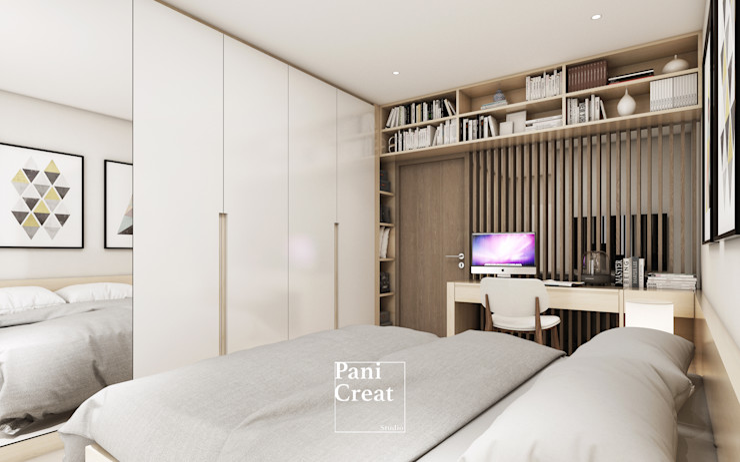 Grand Park View Condo อโศก PANI CREAT STUDIO CO., LTD. ห้องนอนขนาดเล็ก White