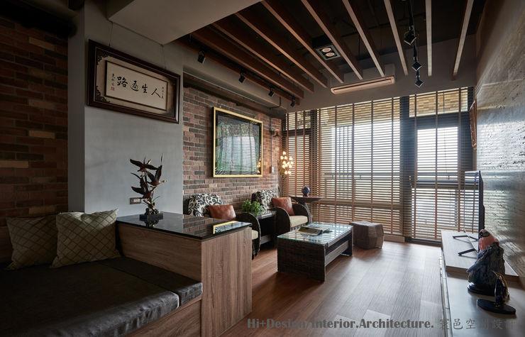 客廳區 Hi+Design/Interior.Architecture. 寰邑空間設計 Living room Bricks Wood effect