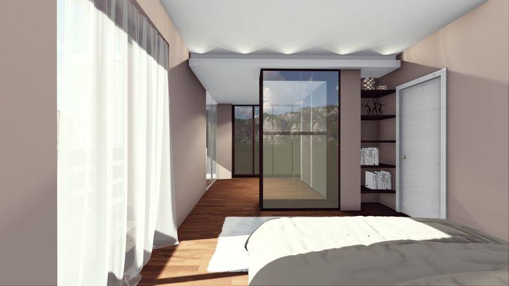 La camera da letto: vista laterale STUDIO ARCHITETTURA SPINONI ROBERTO Camera da letto moderna