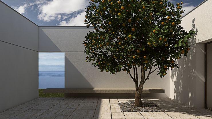 Patio with a window overlooking the sea, lemon tree ALESSIO LO BELLO ARCHITETTO a Palermo Balkon, Beranda & Teras Gaya Mediteran Batu White