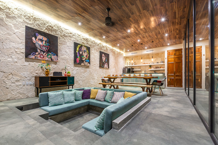 Obed Clemente Arquitectura Tropical style living room Concrete Grey