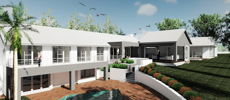 Exterior view – pool (after) Nuclei Lifestyle Design Modern houses
