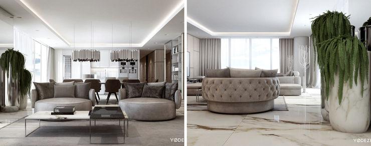 United States House by YØDEZEEN DelightFULL Ruang Keluarga Modern Perunggu Metallic/Silver