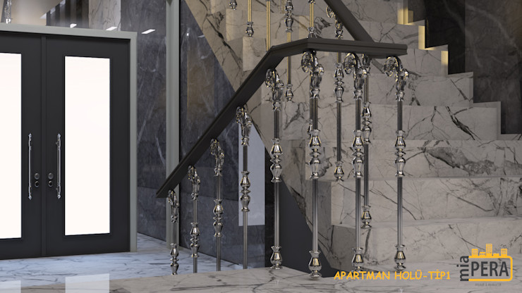 Miapera MİMARLIK Corridor, hallway & stairsStairs Copper/Bronze/Brass Beige