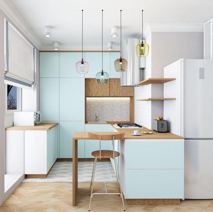 дизайнер Анна Кучукова Dapur kecil MDF Turquoise
