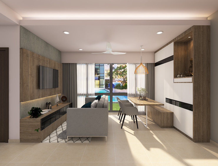 Living with dining area Rhythm And Emphasis Design Studio Scandinavian style living room