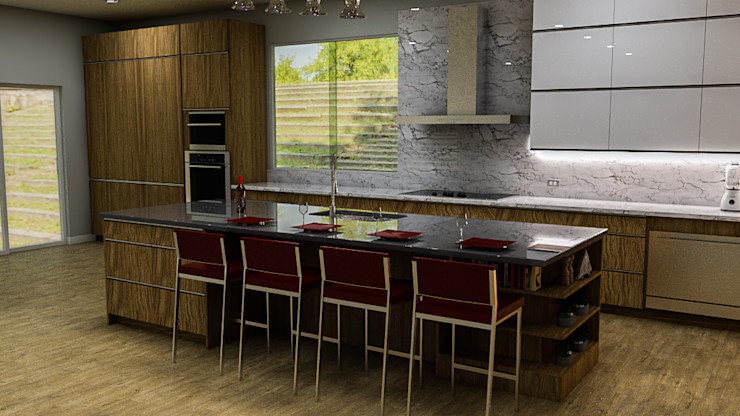 Sixty9 3D Design Built-in kitchens Wood effect