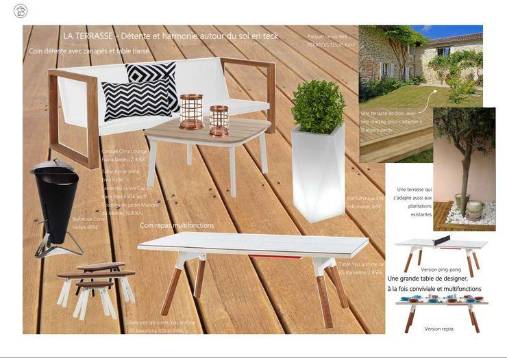 Réaménagement Maison de Campagne - Planche ambiance Terrasse ABCD MAISON Balcon, Veranda & TerrasseAccessoires & décorations