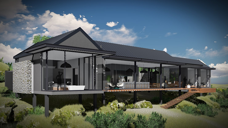 Juan Pretorius Architecture PTY LTD Casas escandinavas Vidrio Gris