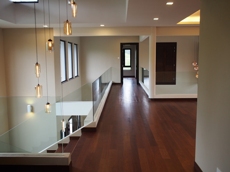 Mode Architects Sdn Bhd Tropical style corridor, hallway & stairs