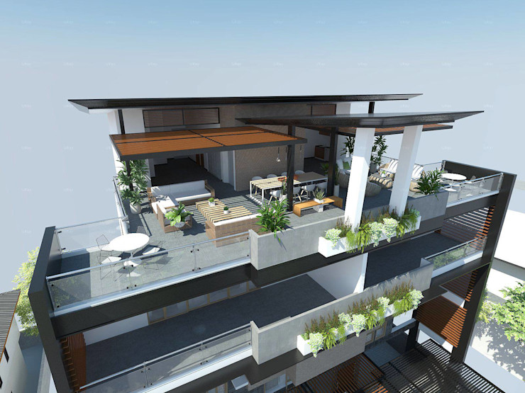 View of Roof Deck and Balcony Structura Architects Balcony Wood effect