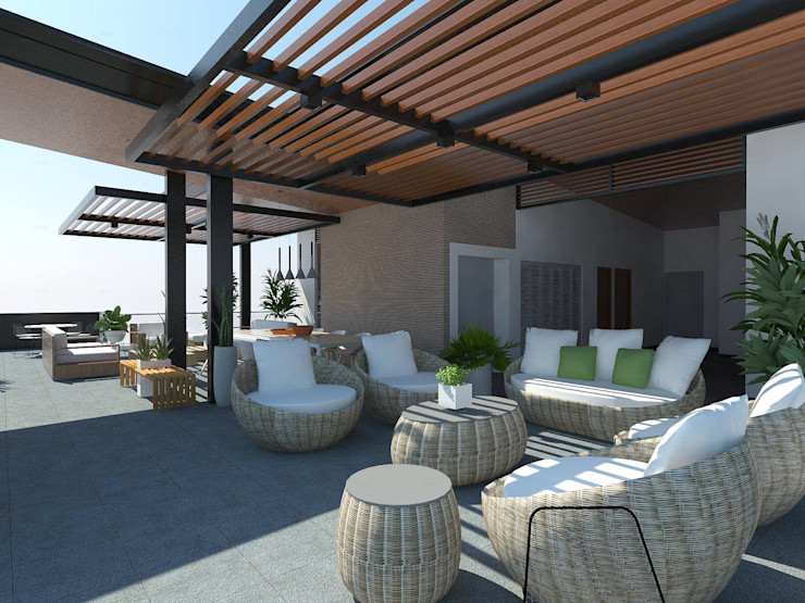 View of Roof Deck Structura Architects Balcony Wood effect