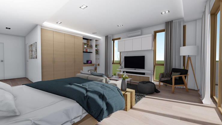 View of Master Bedroom Structura Architects Small bedroom Wood effect