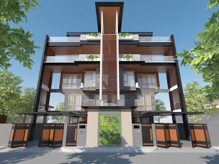 View of Facade Structura Architects Townhouse Brown
