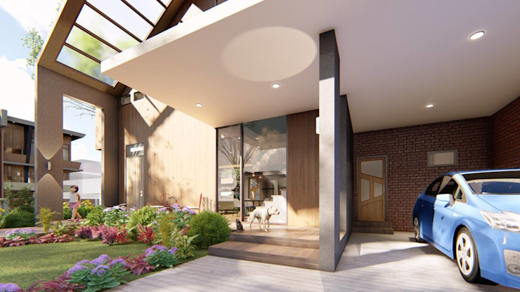 View of Porch and Garage Structura Architects Small houses Wood effect