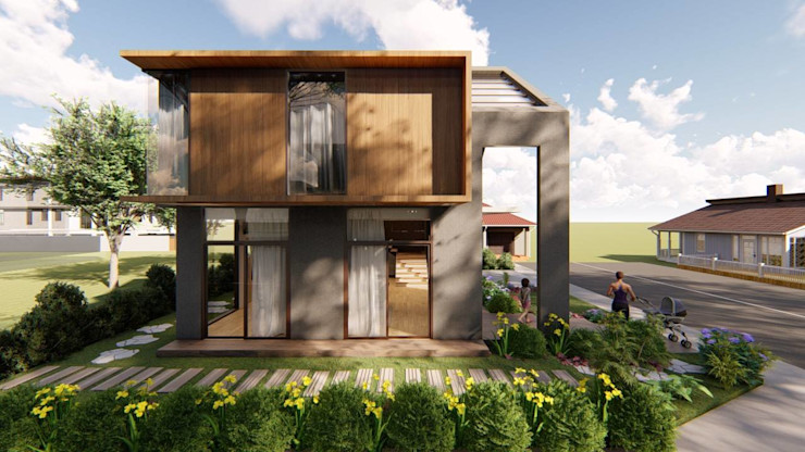 View of Left Side of Residence Structura Architects Single family home Wood effect