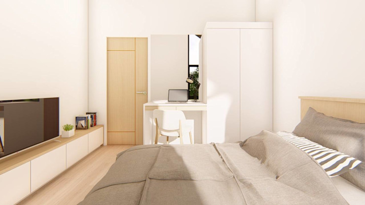 2-Storey Scandinavian-Inspired Residence Structura Architects Small bedroom White