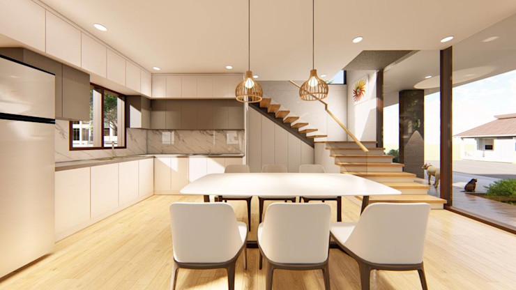 2-Storey Scandinavian-Inspired Residence Structura Architects Dining roomAccessories & decoration Wood effect