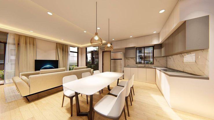 2-Storey Scandinavian-Inspired Residence Structura Architects Scandinavian style dining room White