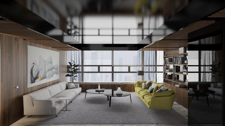 Estancia FM ARQUITECTOS Salones de estilo moderno