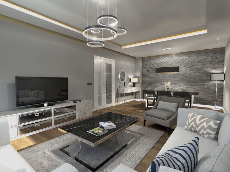 İç mekan - 3 boyutlu görsel Orby İnşaat Mimarlık Modern Oturma Odası Beton Bej