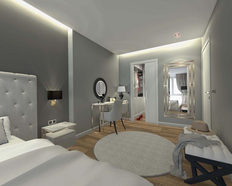İç mekan - 3 boyutlu görsel Orby İnşaat Mimarlık Küçük Yatak Odası Beton Bej