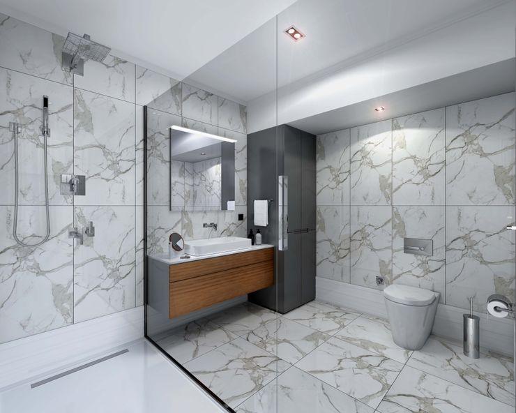 İç mekan - 3 boyutlu görsel Orby İnşaat Mimarlık Modern Banyo Granit Bej