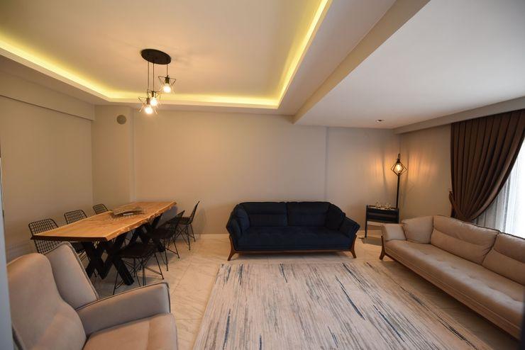 Locaefes Projesi, C Tipi daire salonu Orby İnşaat Mimarlık Modern Oturma Odası Beton Beyaz