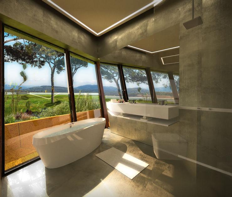 Habitação Unifamiliar T4 com Piscina - Levitada Tradição Office of Feeling Architecture, Lda Casas de banho modernas Cinzento