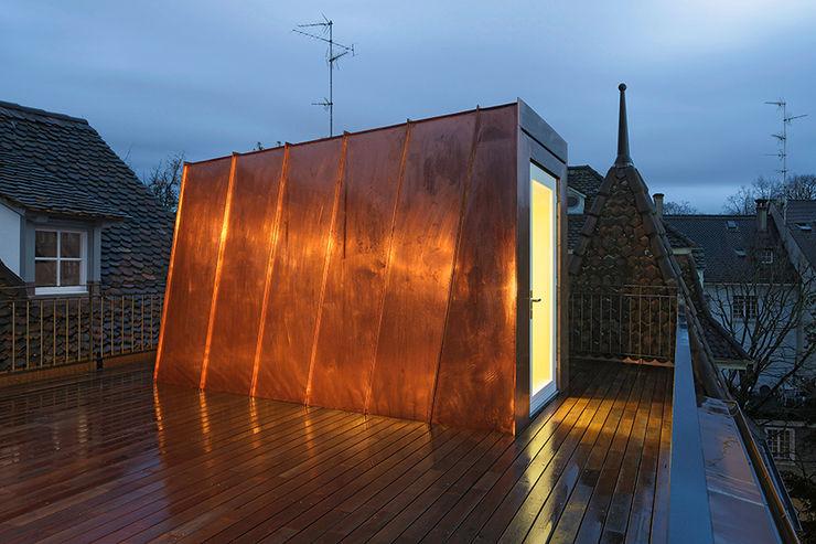 Liegenschaft Petersgraben basel Ave Merki Architekten Dachterrasse Kupfer/Bronze/Messing