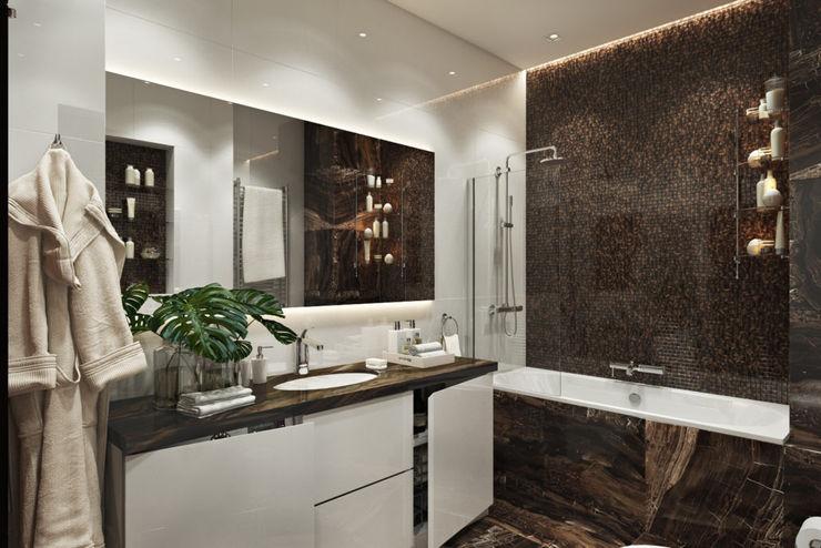 Студия дизайна 'INTSTYLE' Phòng tắm phong cách Bắc Âu gốm sứ White