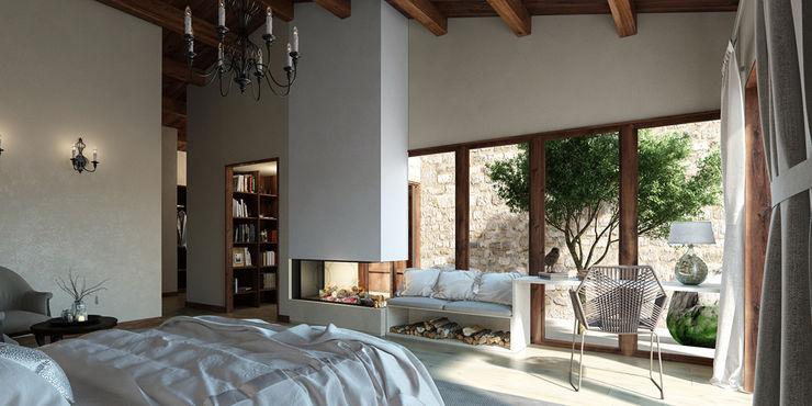 Vivienda unifamiliar aislada (Teruel). Bau Arquitectura Tarragona Dormitorios de estilo rústico