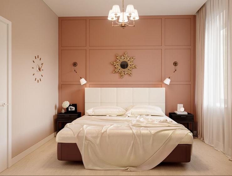 Терракотовая спальня Алёна Демшинова Спальня в скандинавском стиле Розовый