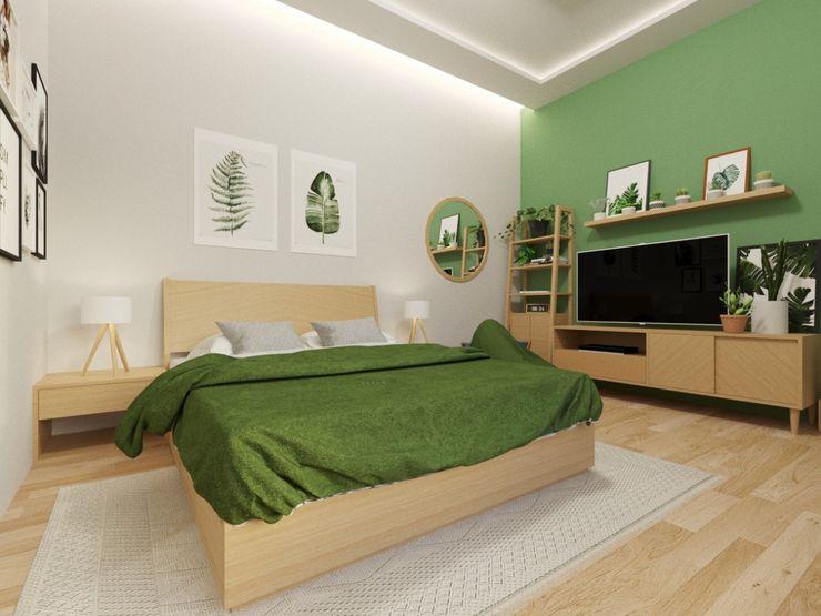 Interior kamar tidur nuansa kayu viku Kamar Tidur Gaya Skandinavia Kayu Brown